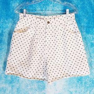 VTG 80s Hearts High Waist White Denim Shorts